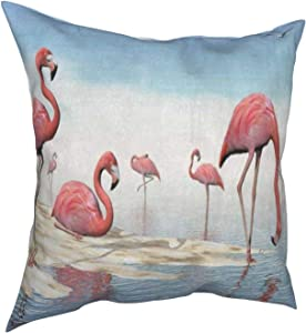 Throw Pillow Covers 18x18, Watercolor Flamingo Beach Decorative Pillow Covers for Couch, Sofa and Bed, Super Soft and Luxury Pillow Cases Covers, Square Pillow Covers