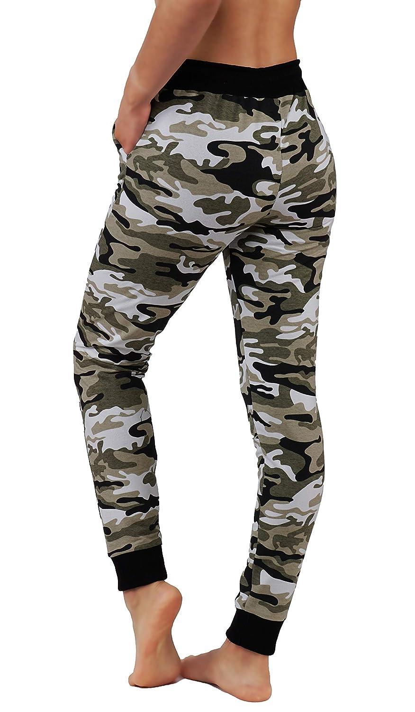 Fit Division Women Premium Camo Joggers Yoga Pants Cotton Blend Casual Sweatpants