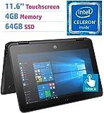 2018 Premium HP X360 ProBook 11.6'' 2-in-1 Touchscreen Laptop PC (Intel Celeron N3350 1.1GHz, 4GB DDR3L, 64GB SSD, HDMI, Bluetooth 4.2, Webcam, 802.11 ac WiFi, Windows 10 Professional) Black