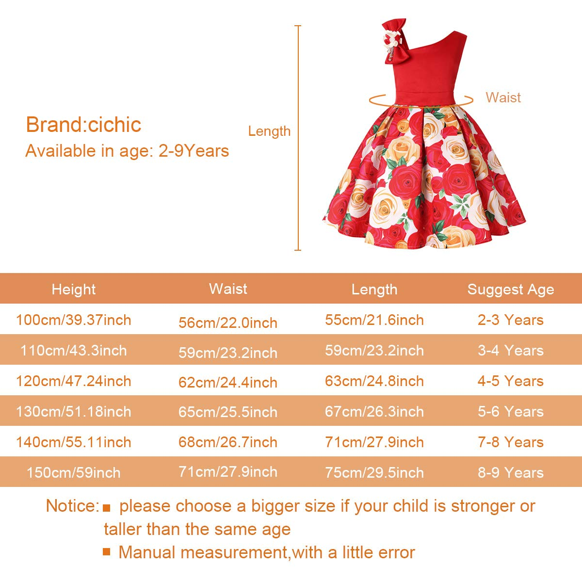 Cichic Girls Dresses 2019 Flower Girl Wedding Dress Elegant Dresses for Party 2-9 Years