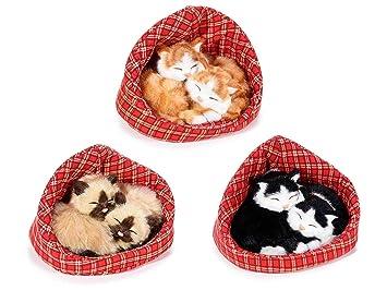 Ideapiu 3 PAR de Gatos Decorativos de Acabado Pelo Dormido caseta: Amazon.es: Hogar