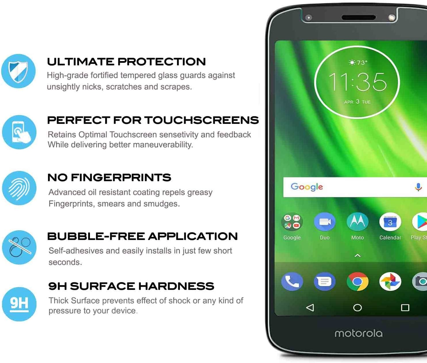 Zizo Glass Compatible with Moto e5 Cruise Tempered Glass Screen Protector Anti Scratch 9H Hardness 0.33mm Thickness e5 Play Clear