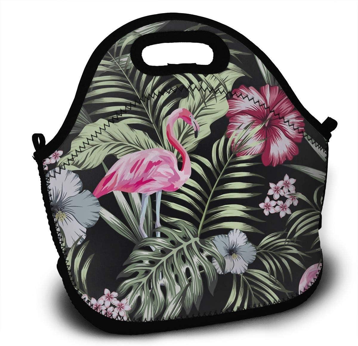Bolsa De Almuerzo,Flamingo Night Jungle Tropical Leaves Black Lunch Bolso, Bolsas Decorativas Para Adultos De Escalada De Viaje