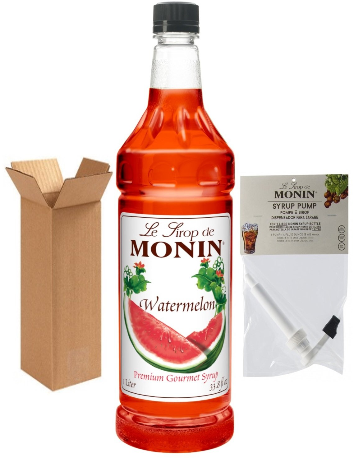 Amazon.com : Monin Watermelon Syrup, 33.8-Ounce Plastic Bottle (1 Liter) with Monin BPA Free Pump, Boxed. : Grocery & Gourmet Food