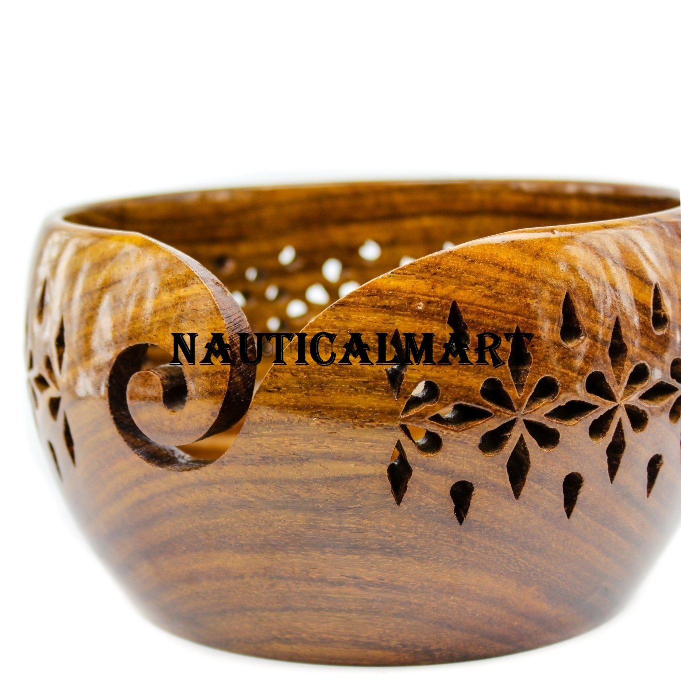 Rosewood Crafted Wooden Storage Bowl With Carved Holes & Drills | Knitting Crochet Accessories | NauticalMart