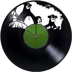Libro de la selva, hecha a mano reloj de pared de disco de