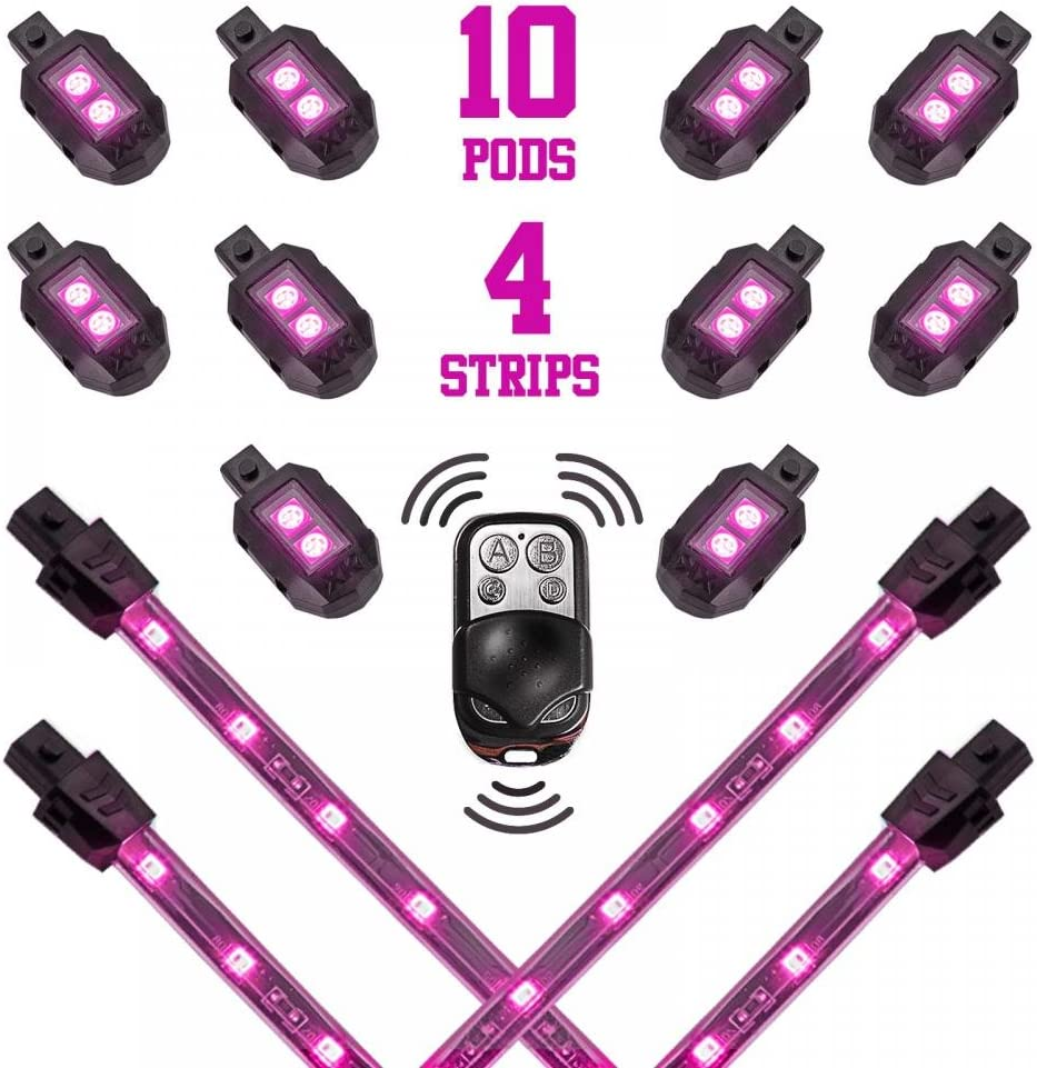 PURPLE LED LIGHT KIT FITS ALL MOTORCYCLES 5MM WIDE ANGLED LEDS 4 LEDS  W//SWITCH