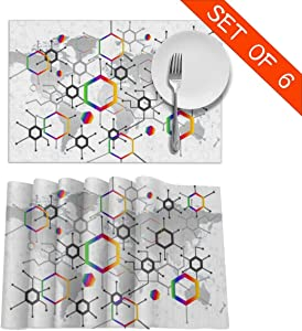 """Geometry Hexagon Placemats, Table Mats 12""""x18"""" Set of 6, Washable Waterproof Anti-Skid Microfiber Heat-Resistant Insulation Stain Resistant Place Mat for Dining Room Kitchen Table Decoration"""