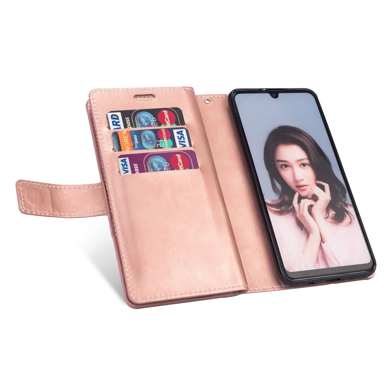 ,Stand Folio Flip Case Cover Wallet Coque pour Samsung Galaxy J6 2018,Rosy 9 Fentes de Carte Coque Samsung Galaxy J6 2018 Pochette Portefeuille en Cuir,Galaxy J6 2018 Housse Coque Etui /à Rabat