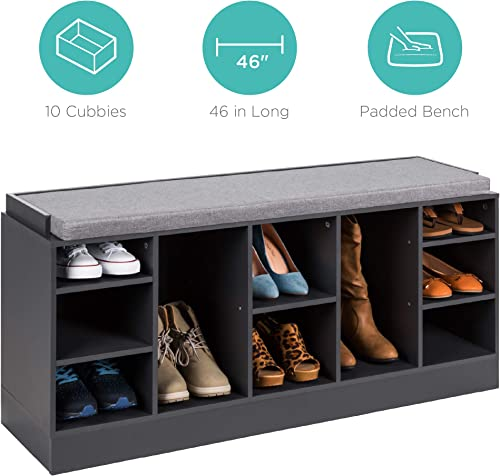 Best Choice Products 46in Shoe Storage Organization Rack Bench for Entryway, Bedroom w Padded Seat, 10 Cubbies – Gray