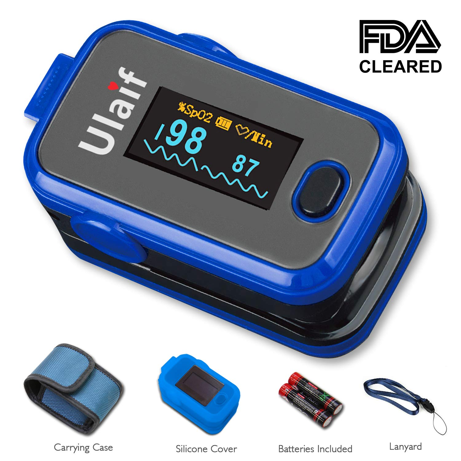 FDA Cleared Ulaif Fingertip Pulse Oximeter for Sports or Aviation use only with OLED Display Portable Oximetry Blood Oxygen Saturation Monitor SpO2 Finger Pulse Oximeter Readings