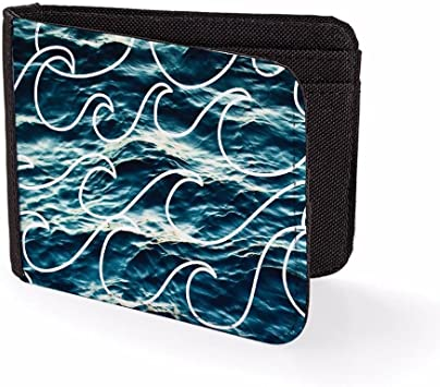 Billetera Impresa para Hombre & Tarjetero Olas Sombre Olas Billeteras de Viaje para Hombre: Amazon.es: Equipaje