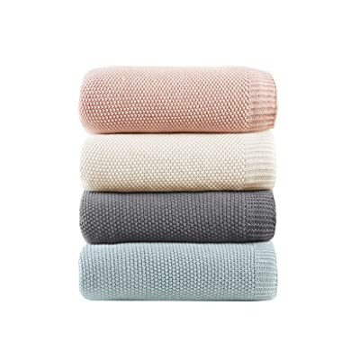 INK+IVY Bree Knit Luxury Knit Blanket Ivory 66x90 Twin Size Knit Premium Soft Cozy Acrylic For Bed, Couch or Sofa