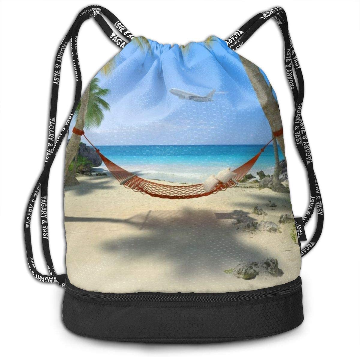 Tropical Beach With A Hammock Hanging From Palm Trees Multifunctional Bundle Backpack Shoulder Bag For Men And Women