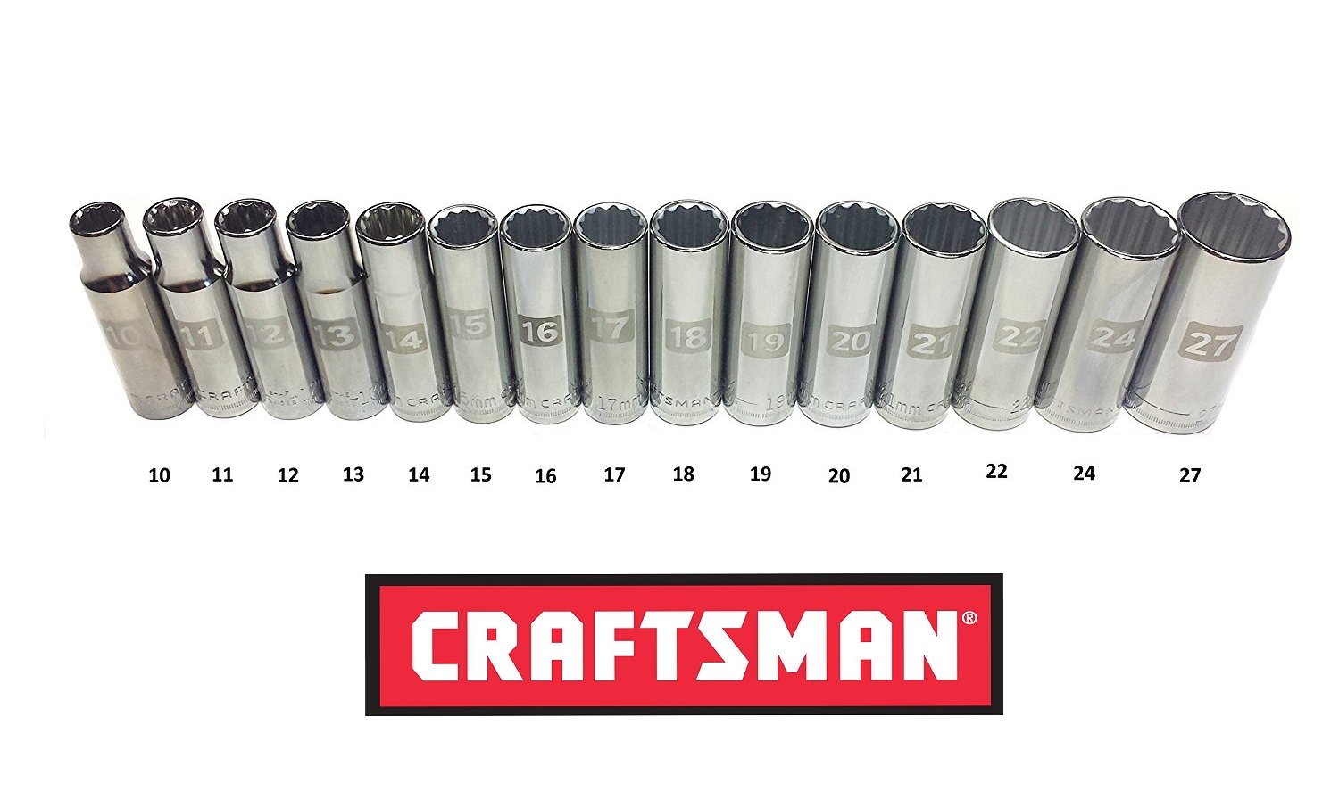 Craftsman Laser Etched Easy Read 1/2'' Drive 15 Piece Metric MM Deep 12 Point Socket Set