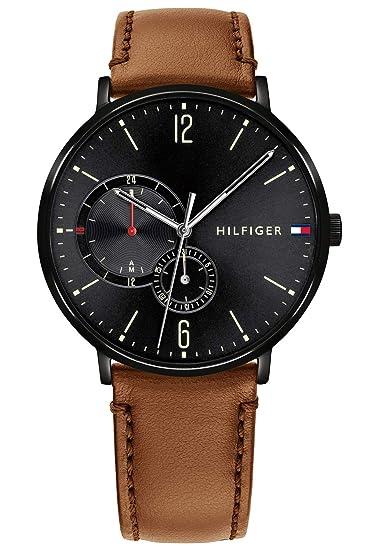 Tommy Hilfiger Reloj Multiesfera para Hombre de Cuarzo con Correa en Cuero 1791510: Amazon.es: Relojes