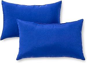 Greendale Home Fashions AZ5811S2-MARINE Blue Outdoor Rectangle Throw Pillow (Set of 2)