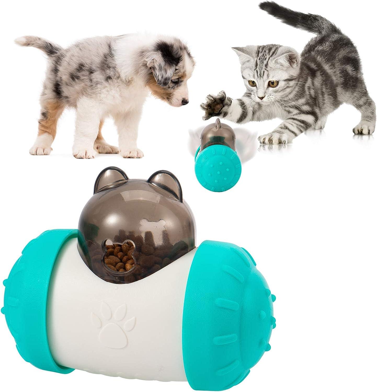 Blue&White Dog IQ Treat Ball- Self-Balance Tumbler Design Slow Feeder Ball Food Treat Dispensing Dog Toy for Pet Cat Interaction and IQ Training