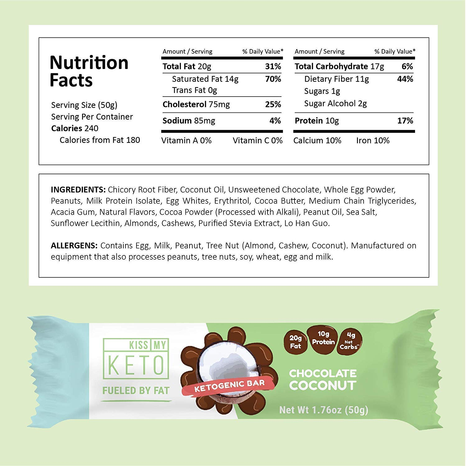 Kiss My Keto Snacks Keto Bars - Keto Chocolate Variety Pack (12) Nutritional Keto Food Bars, Paleo, Low Carb/Glycemic Keto Friendly Foods, Natural On-The-Go Snacks, Quality Fat Bars 3g Net Carbs by Kiss My Keto (Image #5)