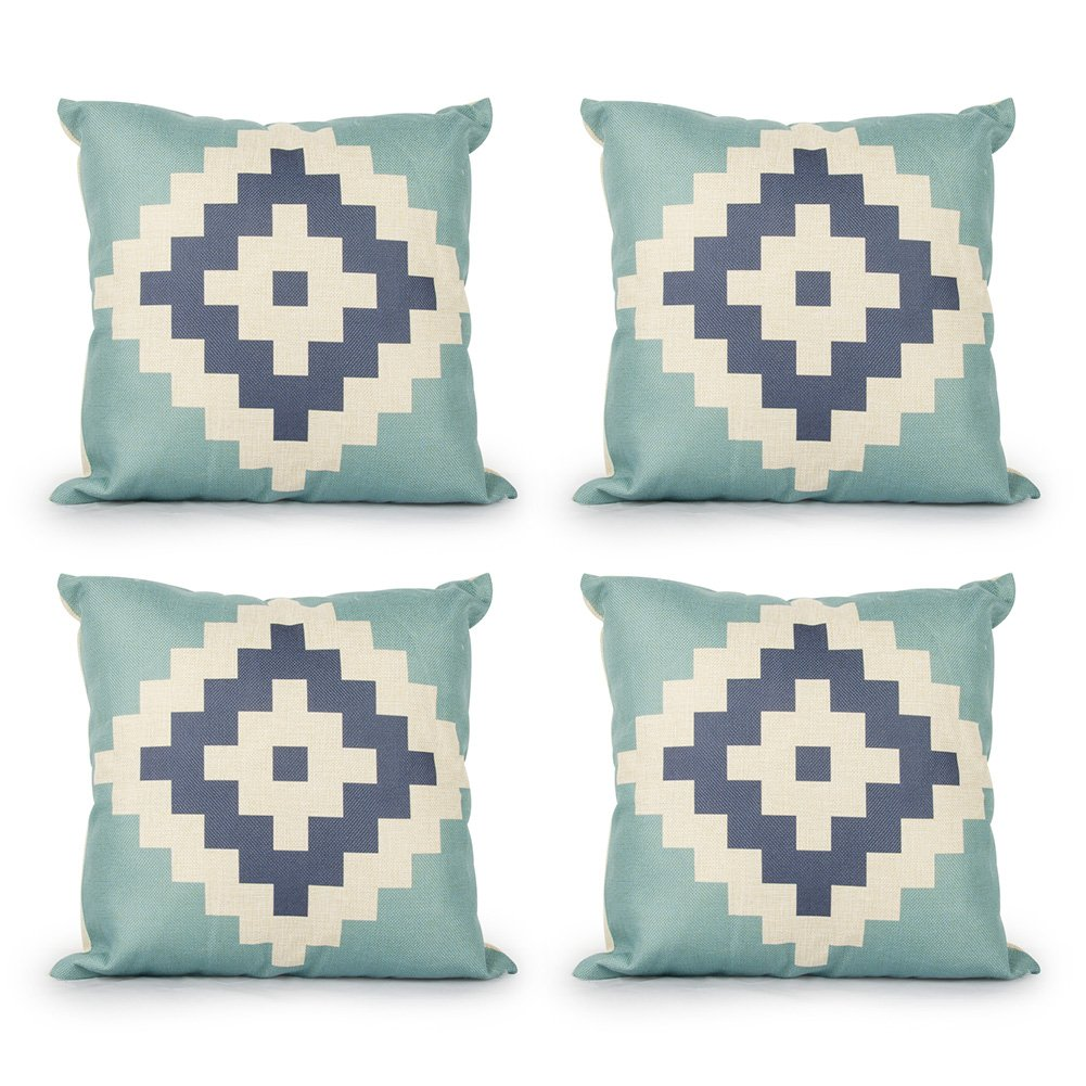 Top Finel Decorative Outdoor Throw Pillow Covers Set - Square Cotton Linen Cushion Covers 18 X 18 Inch for Sofa Couch, Set of 4, Pyramid KD009-pyramid-4