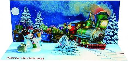 Panoramique 3D Pop Up Carte de Noël sonore 'Santa'Train'  s
