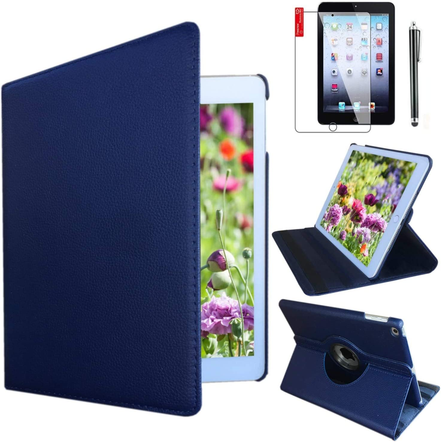 iPad Air 1st Generation case Compatible Models A1474 A1475A1476 MD785LL/A MD876LL/A 360 Rotating Stand with Wake Up/Sleep Function (Royal Blue)