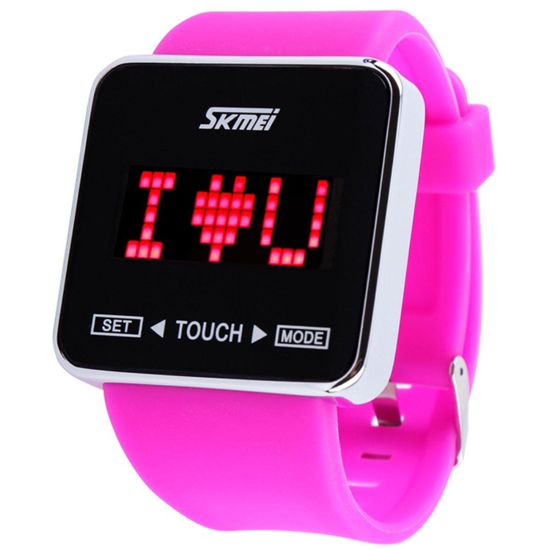 SKMEI Touch Screen Jelly Rubber Band Digital LED Waterproof Boys Girls Sport Casual Wrist Watches Purple