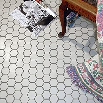 Victorian Hex Matte White Porcelain Mosaic Wall Tile Case of 10
