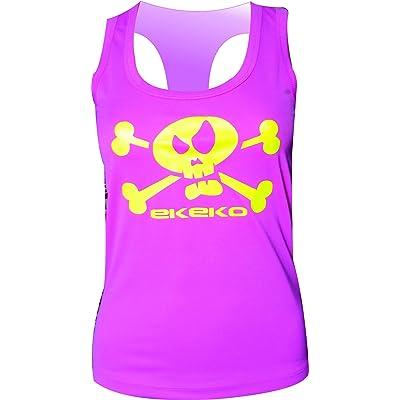 Ekeko Drapeau de pirate Femme, t-shirt, course, athlétisme et sports en général, très respirant et léger. Couleur Rose. Taille S