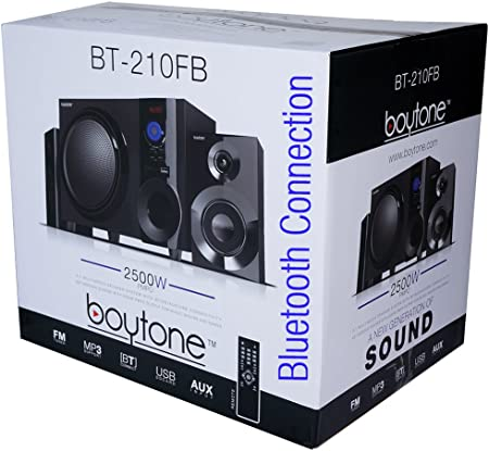 Amazon Com Boytone Bt 210fb Wireless Bluetooth Stereo Audio Speaker With Powerful Sound Bass System Excellent Clear Sound Fm Radio Remote Control Aux In Port Usb Sd For Phone S Laptops Black 30 W Home Audio