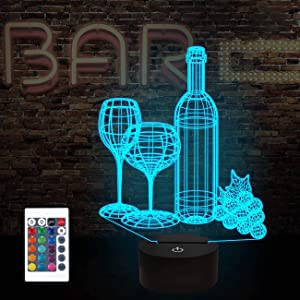 FULLOSUN Wine Bottle 3D Illusion Lamp, Bar Decoration Gifts Night Light for Xmas Holiday Birthday Gifts for Bar Shop Decor with Remote Control 16 Colors Changing + 4 Changing Mode + Dim Function