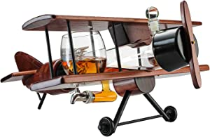Whiskey Decanter Airplane Set and Glasses Antique Wood Airplane - The Wine Savant Whiskey Gift Set and 2 Airplane Glasses, Pilot Gift With Moving Parts- Alcohol Related Gift, HOME BAR DECOR Large 21