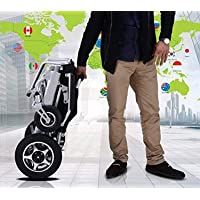 Fold and Go Travel Lightweight Motorized Electric Power Wheelchair Scooter, Aviation Travel Safe Electric Wheelchair Foldable Heavy Duty Power Wheel Chair (SILVER)