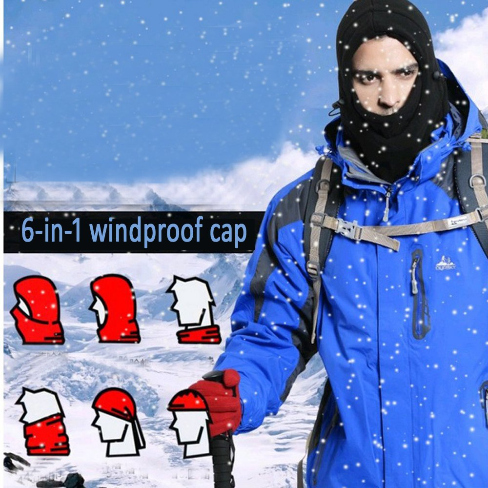 Passamontagna/multiuso in pile pesante antivento per sport invernali maschera per sport tattici LU2000 copricapo caldo che protegge viso e collo