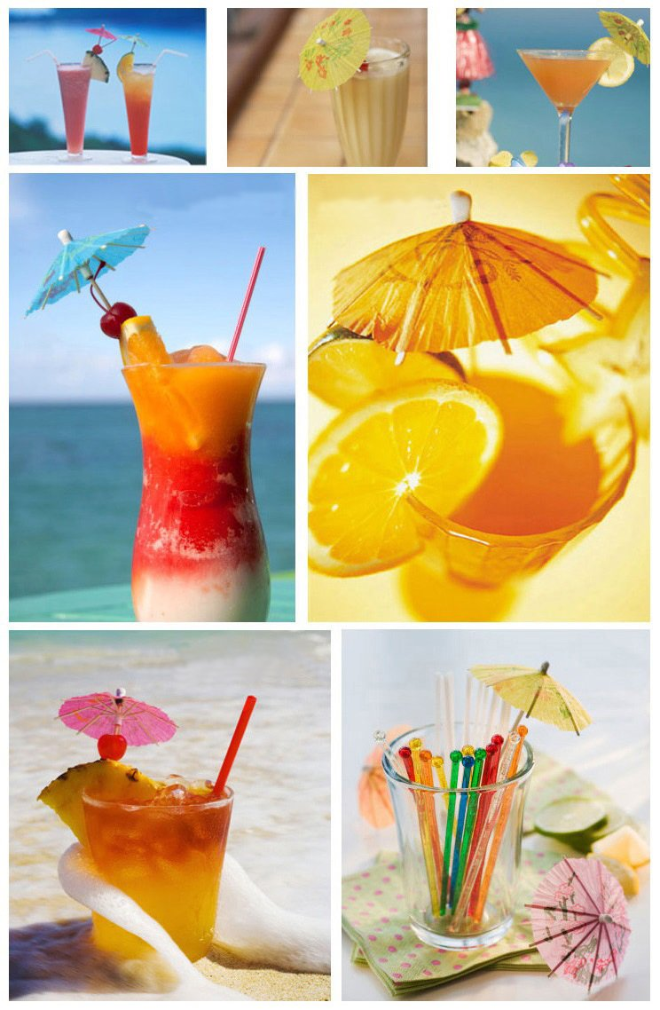 144 Pcs Handmade Umbrella Picks Cocktail Sticks for Tropical Drink Pool Party Decorations, Assorted Colors, Circular Shape