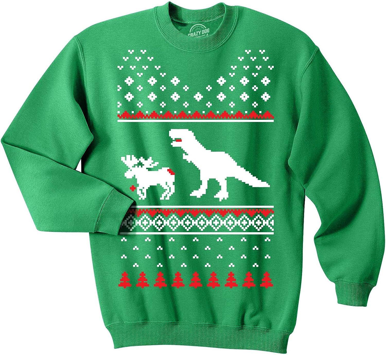 BOYS MENS FUNNY T REX CHASING SANTA NOVELTY CHRISTMAS T-SHIRT GREAT GIFT XMAS!!!