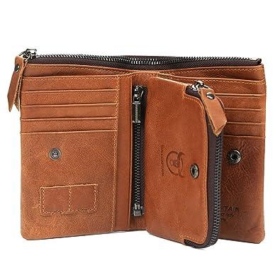 d16d865294ae Amazon | 財布 二つ折り 財布 メンズ 本革 レザー 小銭入れ 人気 12枚の ...