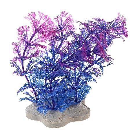 SODIAL(R) Planta artificial 10CM Decoracion del acuario Planta de agua purpura + azul