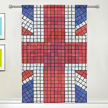 Coosun Drapeau Anglais Union Jack en mosaïque Sheer Panneaux de ...