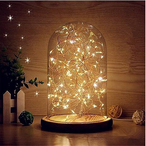 LEDMOMO Luces de bóveda de vidrio, campanilla de techo LED Lámpara de mesa de luz nocturna Lámpara de mesa USB de LED (blanco cálido)