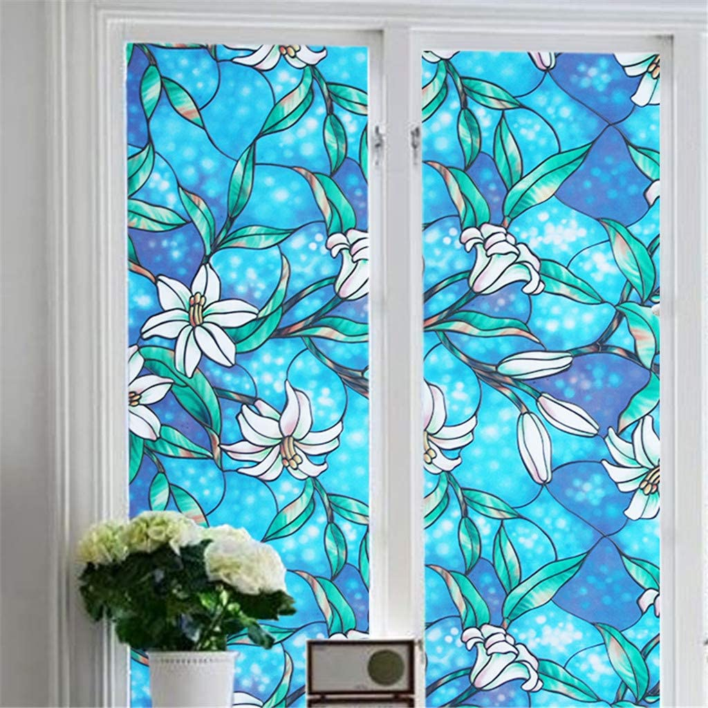 Coohole Mobile Creative Wall Sticker Decal Murals PVC Lily Static Window Film No Glue Removable Stained Glass Decal