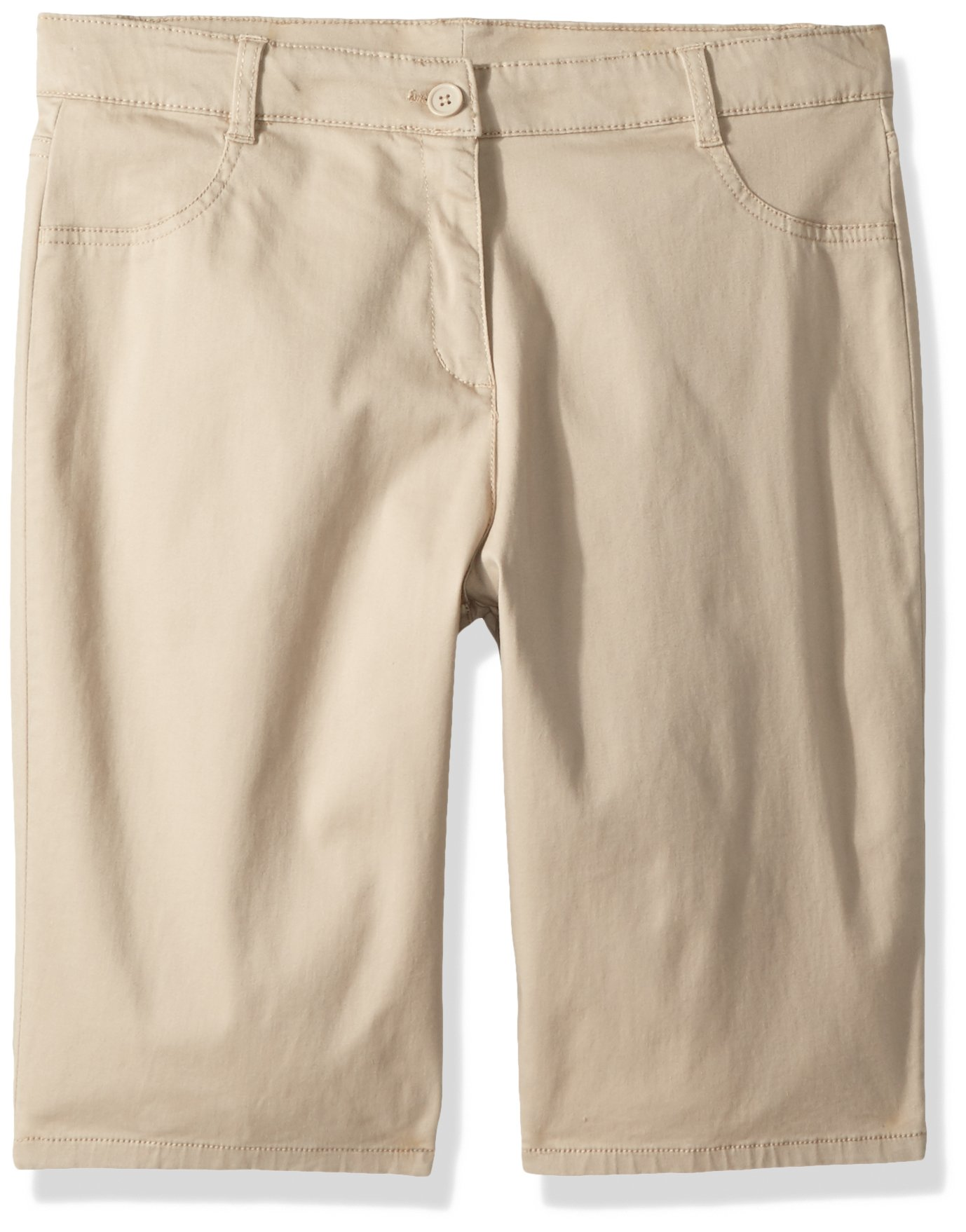 Nautica Girls' Big Twill Bermuda Short, Su Khaki/Five Pocket, 14