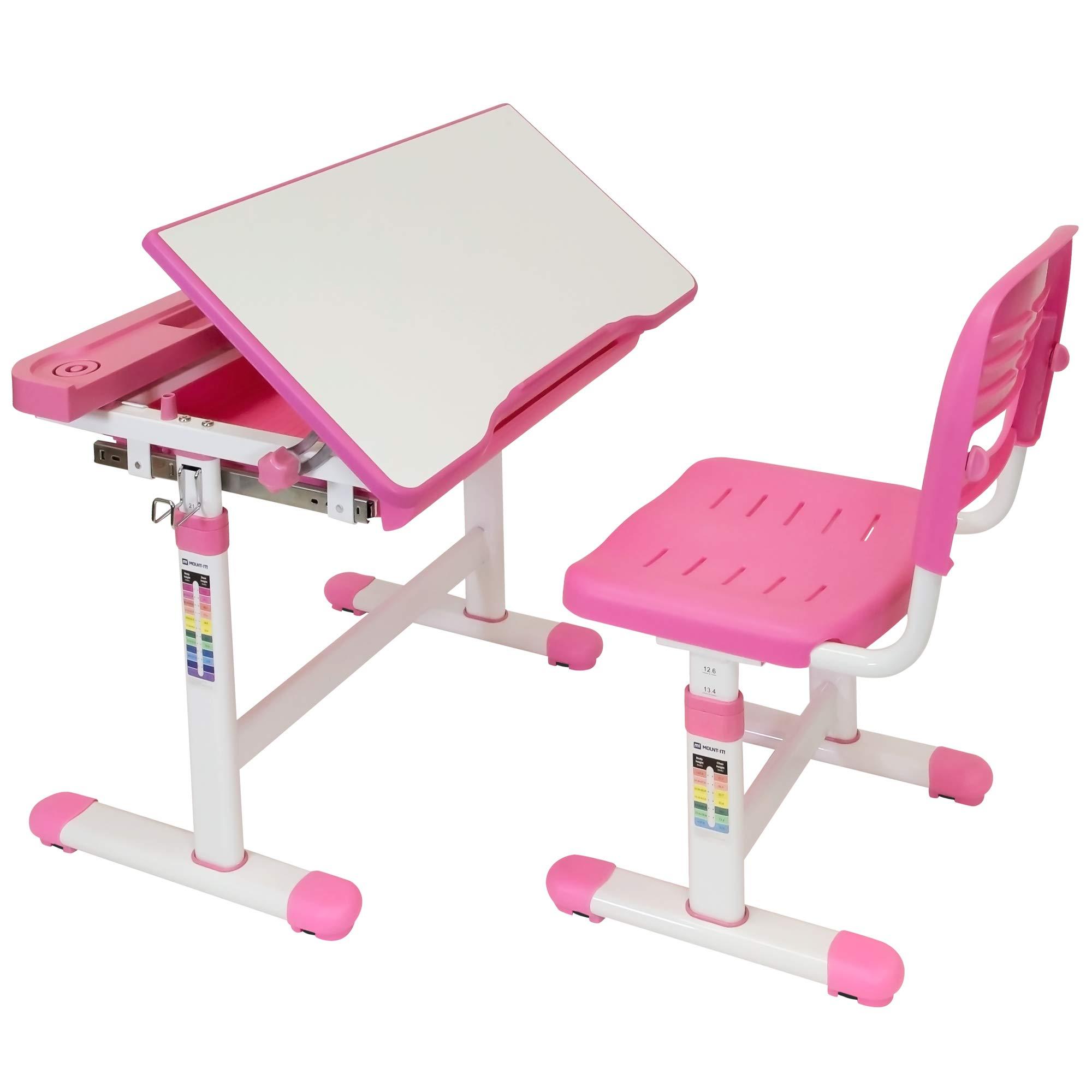 Mount-It! Kids Desk and Chair Set, Height Adjustable Ergonomic Children's School Workstation with Storage Drawer, Pink by Mount-It!