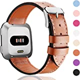 HUMENN Strap for Fitbit Versa, Genuine Leather Adjustable Replacement Wristband for Fitbit Versa Large Small,10 Colours