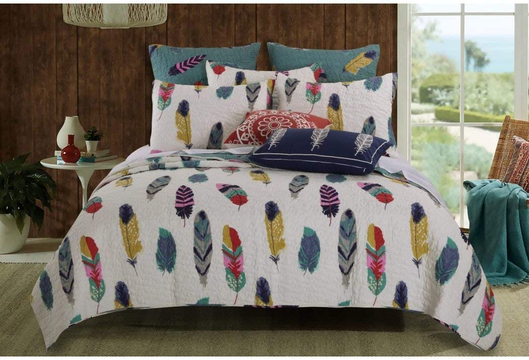 2 Piece Dream Catcher Theme Quilt Twin Set, Beautiful Girls All Over Feather Bedding, Girly Multi Color Nature Feathers Dreamcatcher Bird Motif Themed Pattern Cotton, White Teal Blue Grey Red