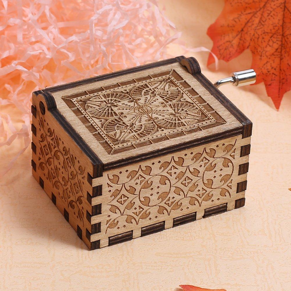 NELNISSA Caja de m/úsica grabada de madera con texto en ingl/és GAME OF THRONES para manualidades o regalos de Navidad para ni/ños