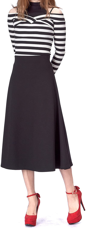 1950s Style Clothing & Fashion Danis Choice Elastic Waist A-line Flared Long Skirt  AT vintagedancer.com