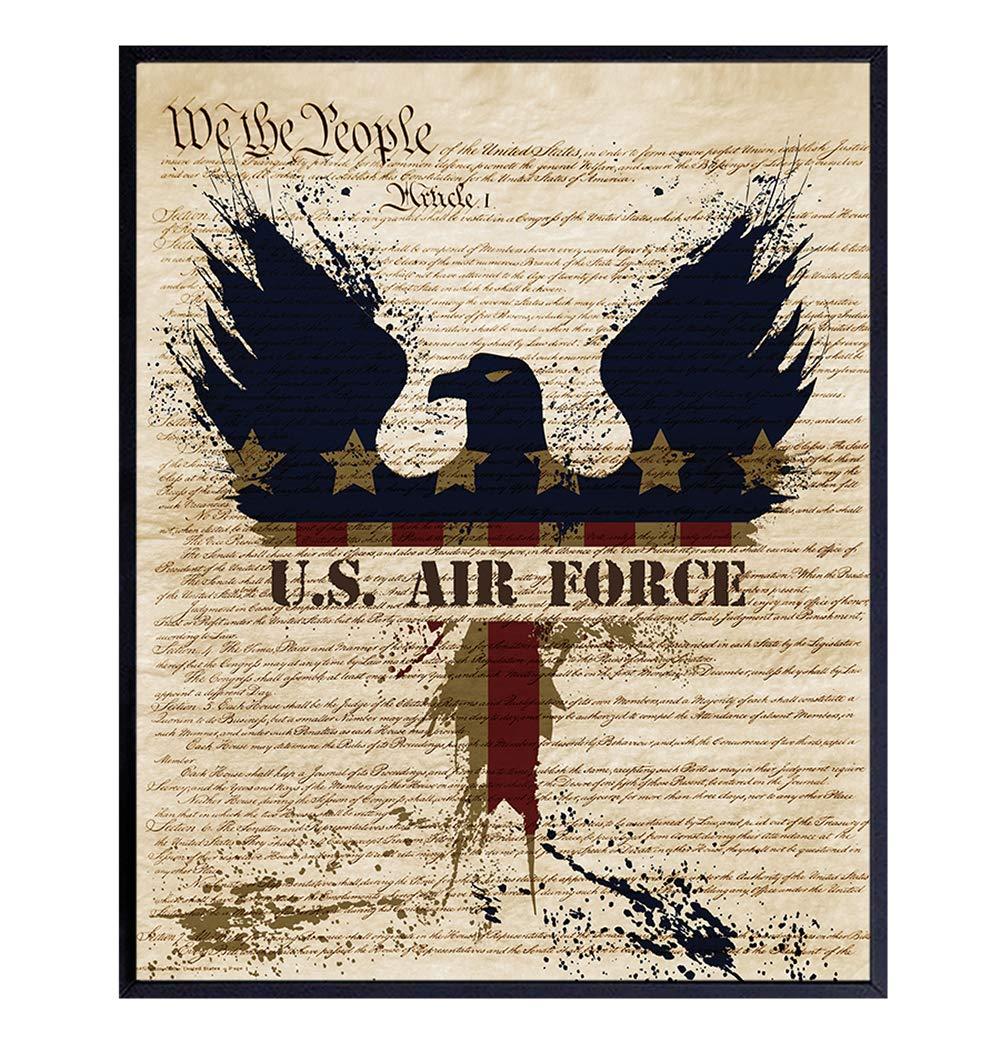 Patriotic US Air Force Art Poster - 8x10 Wall Decor - American Eagle Home Decoration for Living Room, Bedroom, Office - Gift for U.S. Military Servicemen, Servicewomen, Veteran, Vet- Unframed Print
