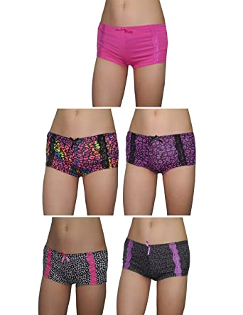 71ichKFcbtL._UX342_ pack of 5) xoxo womens soft boy shorts underwear panties 2x,2x Womens Underwear