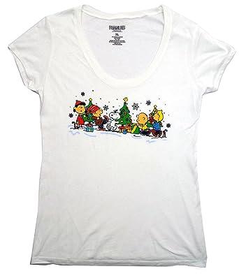 peanuts gang merry christmas juniors womens t shirt large - Peanuts Christmas Shirt